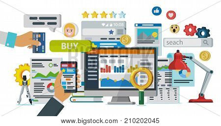 Web promotion and analytics of information. Communication and services, marketing and research, information, statistics and analysis. Infographics elements and icons. Raster image in flat style