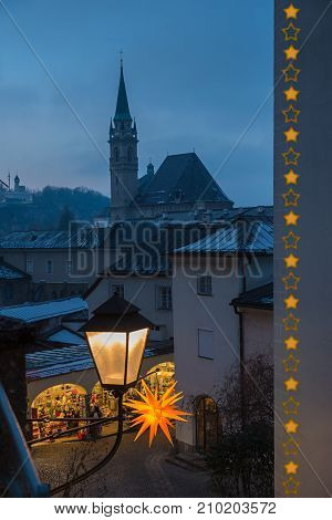 View To Alleyway And Church At Old Town Salzburg, Festive Lantern