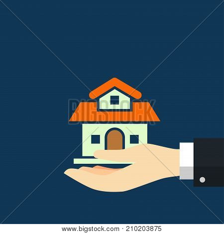 Businessman holding House hand agent with home in palm. Offer of purchase house rental of Real Estate. Giving offering demonstration handing house keys. Vector illustration flat design.