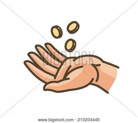 Hand and money or gold coins. Earnings, profit, income icon. Vector illustration isolated on white background