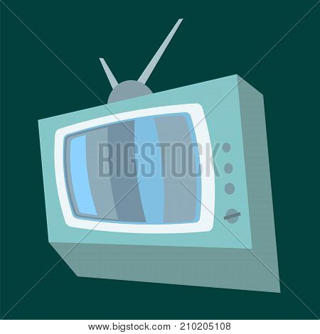 Cartoon Retro Old TV Isolated on Green Background