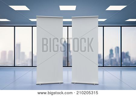 3d rendering empty roll up banner with office background