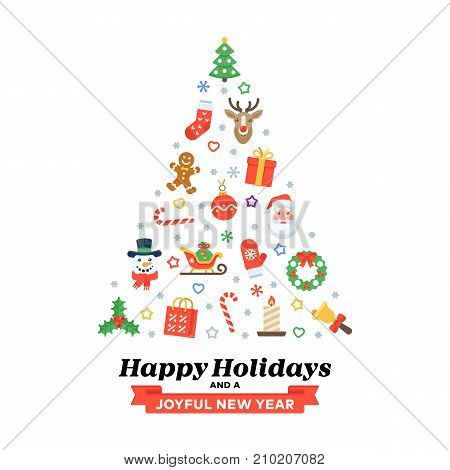 Xmas greeting card of flat traditional decoration elements and seasonal congratulations phrases for poster, banner, website, infographics.
