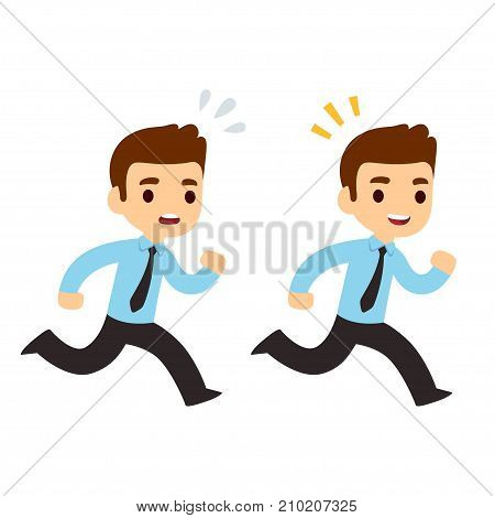 Funny cartoon running businessman illustration in modern flat vector style. Stressed anxious and happy successful. Business concept drawing.