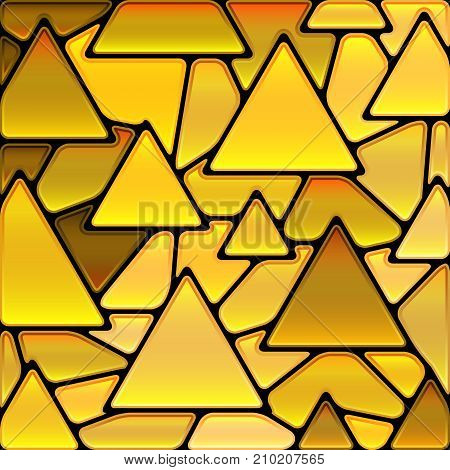 abstract vector stained-glass mosaic background - golden triangles