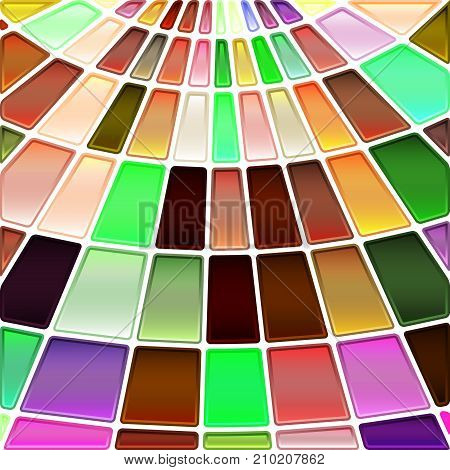 abstract vector stained-glass mosaic background - green brown and violet