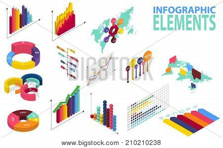 Isometric style infographics with data icons, world map charts and design elements. Vector. Isometric infographic for your business presentations. Infographics with data icons, world map charts.