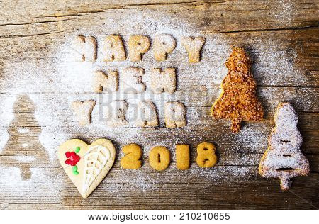 Happy New Year Note Written With Cookies