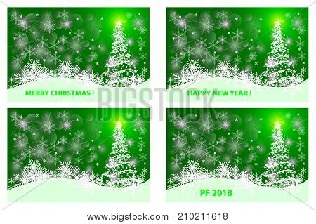 Merry Christmas , Happy New Year , PF 2018 , Christmas card - white and green vector set
