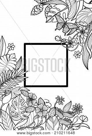 Tropical flowers and plants frame. Floral A4 composition on white background for greeting cards, mock ups, coloring pages.