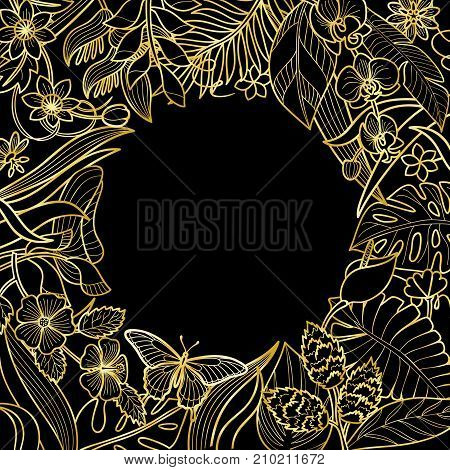 Tropical flowers and plants round frame. Floral gold composition on black background for greeting cards, luxury mock ups.