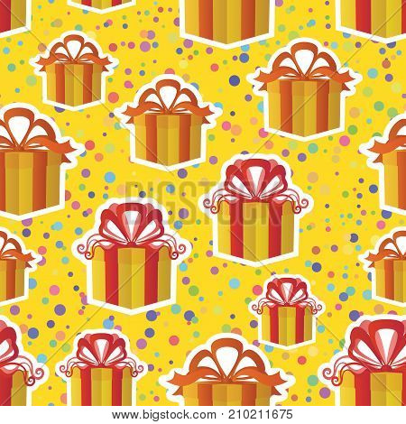 Holiday Colorful Seamless Background with Gift Fancy Boxes and Confetti. Tile Pattern for Your Design. Eps10, Contains Transparencies. Vector