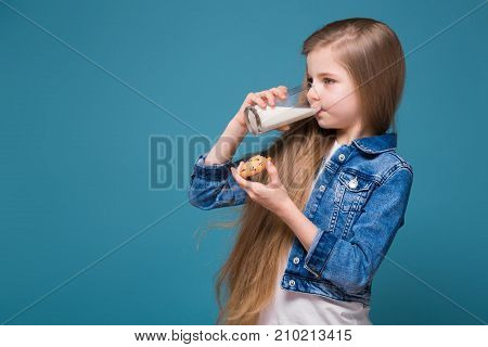 Little Pretty Girl In Jean Jacket With Long Brown Hair Hold Tumbler