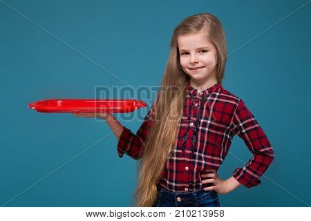Pretty Girl In Shirt With Long Hair Hold The Salver