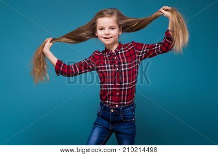 Cute Girl In Shirt With Long Hair