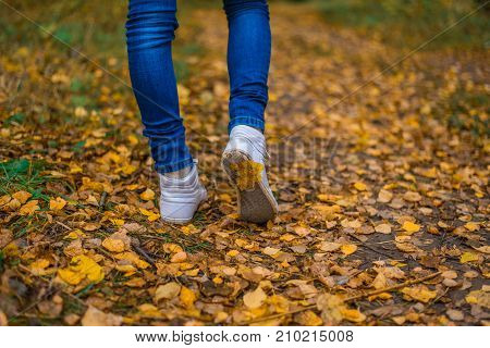 White Shoe Sneakers. A man stops walking. The girl's girlfriend's. Hot girls on the nature in the park among the leaves of yellow. Autumn park in bright colors.