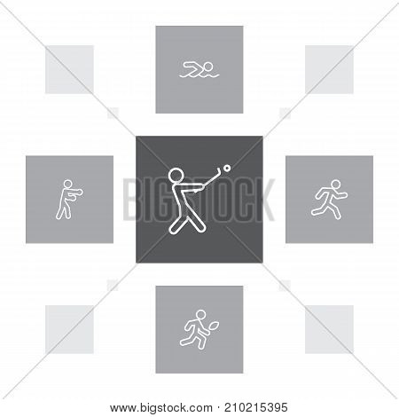 Collection Of Run, Stick, American Football And Other Elements.  Set Of 5 Fitness Outline Icons Set.