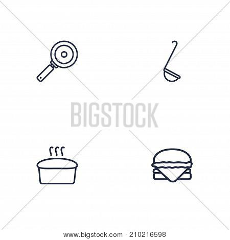 Collection Of Skillet, Ladle, Hamburger And Other Elements.  Set Of 4 Kitchen Outline Icons Set.