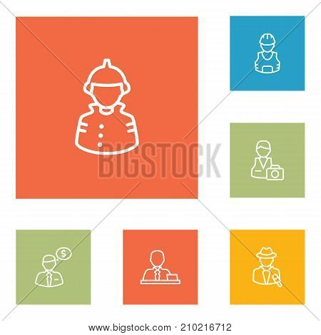 Collection Of Manager, Worker, Reporter And Other Elements.  Set Of 6 Job Outline Icons Set.