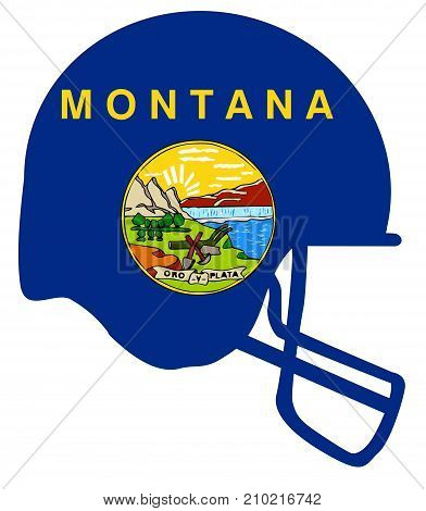 The flag of the state of Montana below a football helmet silhouette