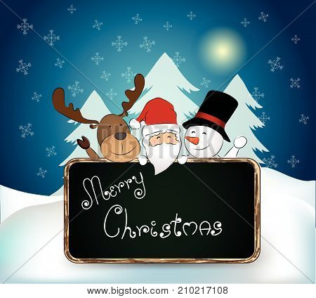 Christmas background with santa snowman and reindeer