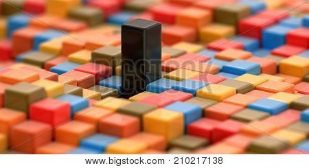 3d illustration. 3d image of  Abstract color cube block