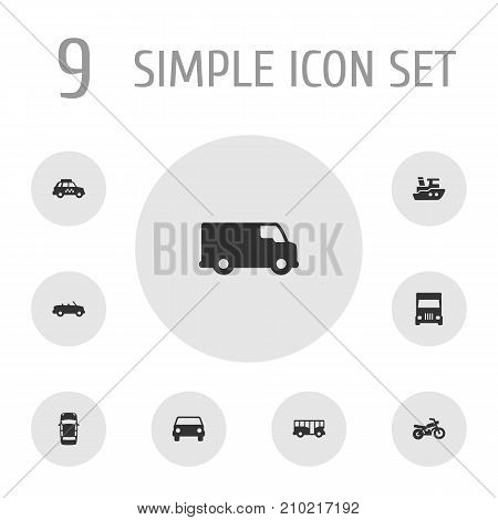 Collection Of Caravan, Boat, Motorbike And Other Elements.  Set Of 9 Traffic Icons Set.