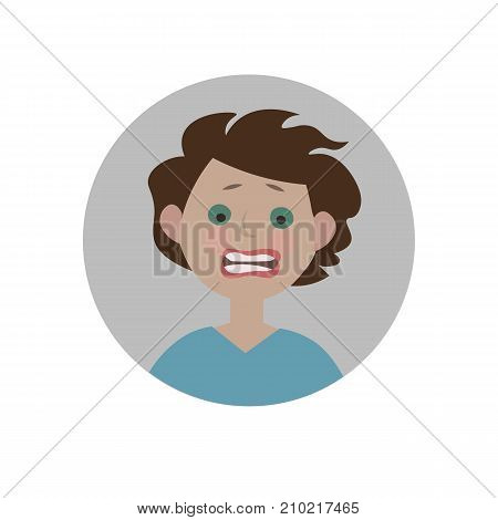Frightened emoticon. Scared emoji. Afraid smiley. Horrified expression. Isolated vector illustration.