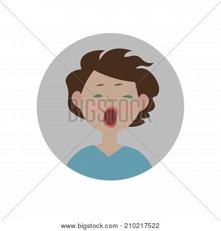 Yawning smiley. Bored emoticon. Indifferent emoji. Sleepy expression. Isolated vector illustration.