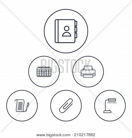 Collection Of Fastener Paper, Agreement, Reading-Lamp And Other Elements.  Set Of 6 Work Outline Icons Set.