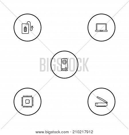 Collection Of Cpu, Scanner, Powerbank And Other Elements.  Set Of 5 Laptop Outline Icons Set.
