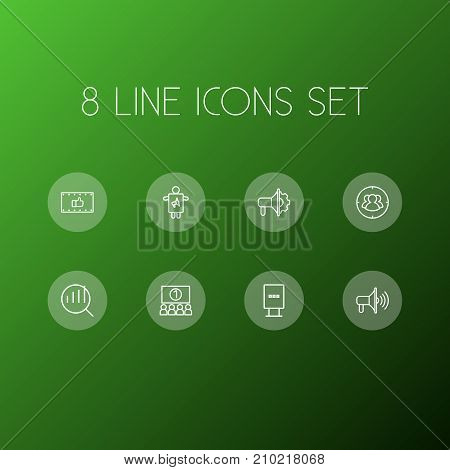 Collection Of Promotion, Audience, Advertising Agency And Other Elements.  Set Of 8 Advertising Outline Icons Set.