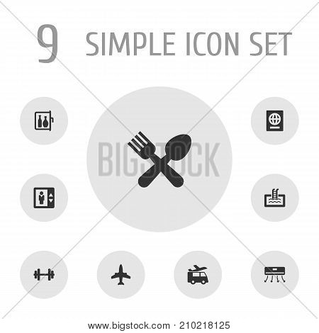 Collection Of Chiller, Basin, Airplane And Other Elements.  Set Of 9 Motel Icons Set.