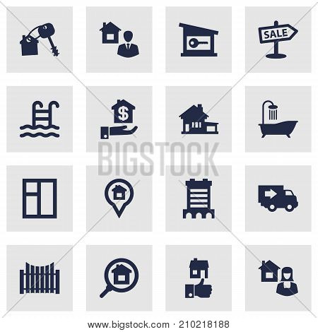 Collection Of Casement, Hypothec, Mortgage And Other Elements.  Set Of 16 Property Icons Set.