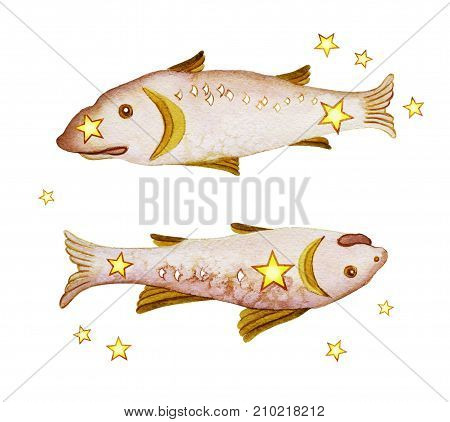 Astrological sign of the zodiac Pisces isolated on a white background. Two fish swimming one after another. Isolated on white background