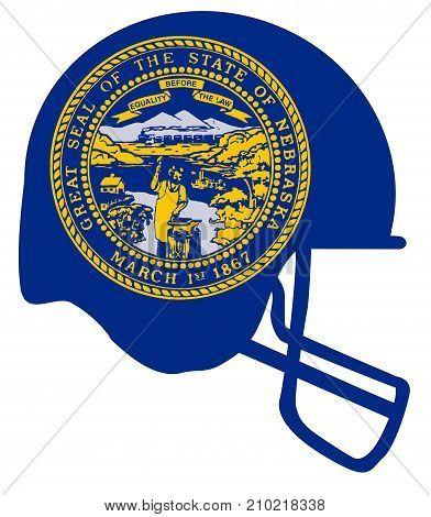 The flag of the state of Nebraska below a football helmet silhouette