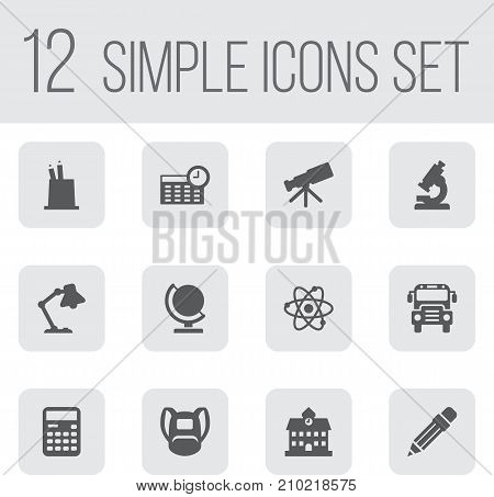 Collection Of University, Autobus, Rucksack And Other Elements.  Set Of 12 School Icons Set.
