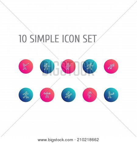 Collection Of Batting, Run, Power-Lifting And Other Elements.  Set Of 10 Sport Outline Icons Set.