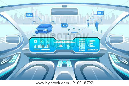 Autonomous Smart Car Interior. Car Self Driving In The City On The Highway. Display Shows Informatio