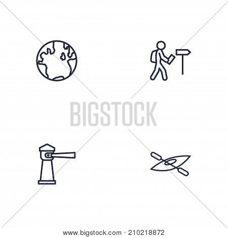 Collection Of Globe, Lighthouse, Foreigner And Other Elements.  Set Of 4 Relax Outline Icons Set.