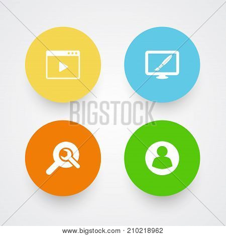 Collection Of Search, Design, Movie And Other Elements.  Set Of 4 Optimization Icons Set.