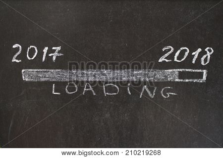 2017 year on the left and 2018 year on the right with sign loading. Hand drawing with chalk on blackboard. Conceptual image.