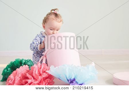 Bright picture of happy child with gift box. Bright picture of happy child with gift box
