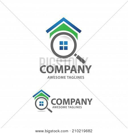 house search logo vector, searching for a house concepts, House with Magnifier, Icon for real estate renovation