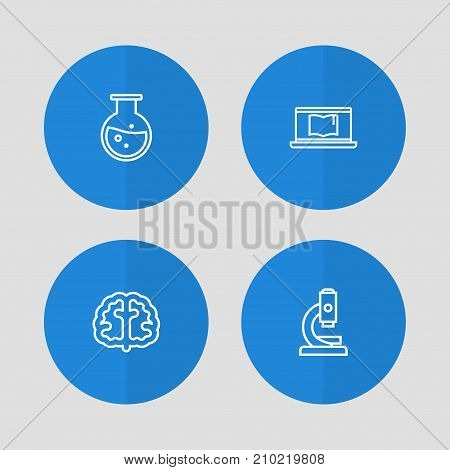 Collection Of Test Tube, Laptop, Brain And Other Elements.  Set Of 4 Science Outline Icons Set.