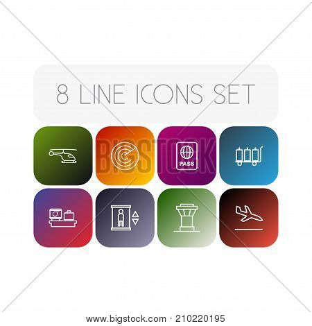 Collection Of Helicopter, Luggage Check, Control Tower And Other Elements.  Set Of 8 Airplane Outline Icons Set.