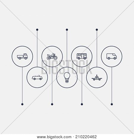 Collection Of Truck, Bus, Airplane And Other Elements.  Set Of 7 Transport Outline Icons Set.