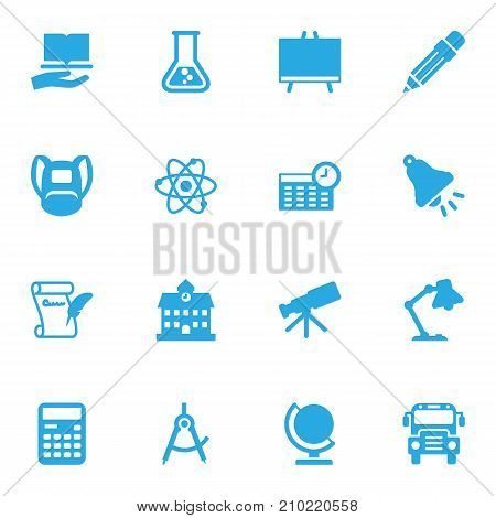 Collection Of Telescope, University, Agreement And Other Elements.  Set Of 16 Education Icons Set.