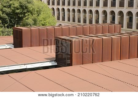 GIRONA, SPAIN - JULY 24, 2017: Detail roof of the library of the Letters faculty at the university of Girona Catalonia northeastern Spain.