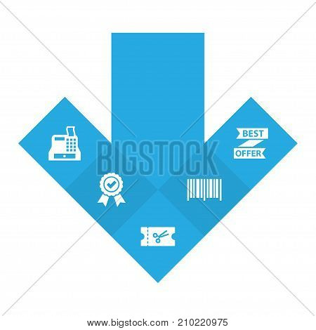 Collection Of Till, Ticket, Best Offer And Other Elements.  Set Of 5 Store Icons Set.